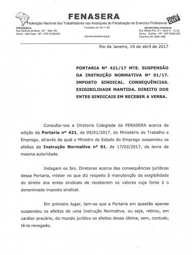 FENASERA imposto sindical portaria 421.20170001