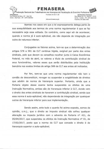FENASERA imposto sindical portaria 421.20170003