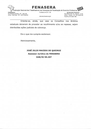 FENASERA imposto sindical portaria 421.20170004