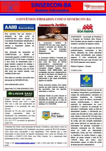 Informativo 14.05.2018 do SINSERCON-BA convênios