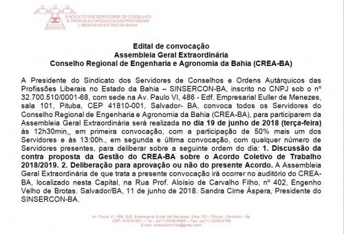 Edital de Assembleia Geral do CREA
