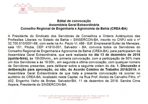 Edital de AGE 2018 do CREA BA 13.12.2018