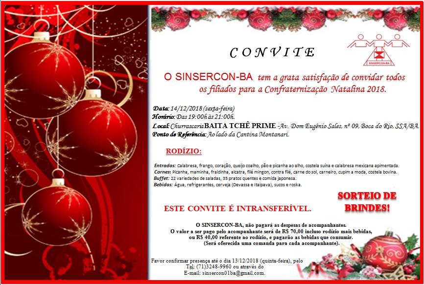 convite confraternização natalia