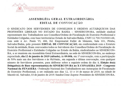 Edital X CONASERA 2019