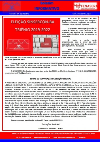 Boletim Informativo Eleição 2019.2022