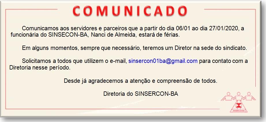 COMUNICADO FÉRIAS