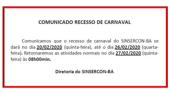 comunicado recesso de carnaval